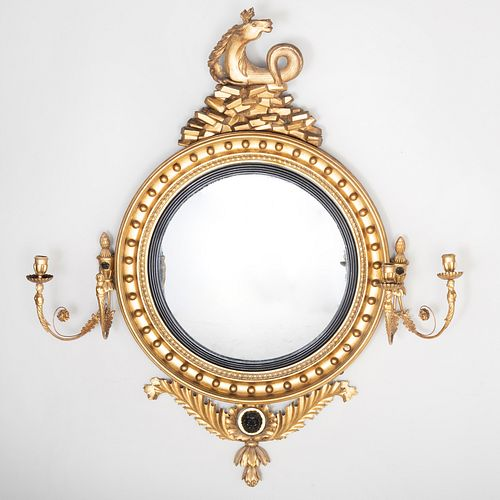 Fine Regency Giltwood and Ebonized Four Light Girandole Mirror