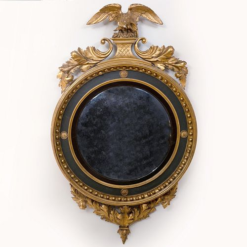 Regency Ebonized and Parcel-Gilt Convex Mirror