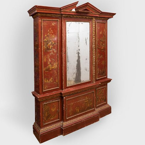 George II Style Red Lacquer and Parcel-Gilt Breakfront Bookcase, Mid 19th Century