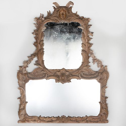 George II Style Carved Wood Overmantel Mirror, Mid 19th Century