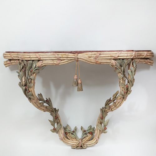 Fine Italian Painted Console Table with Faux Porphyry Top, Piedmontese