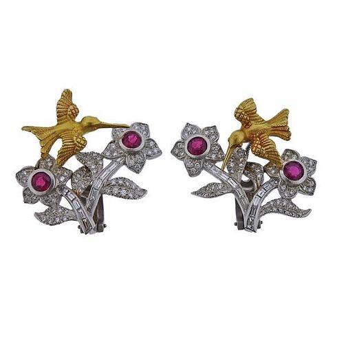 Kieselstein Cord Ruby Diamond 18k Gold Platinum Bird Flower Trembler Earrings