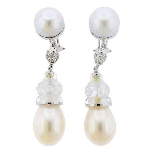 Seaman Schepps Crystal Pearl Diamond 18k Gold Earrings
