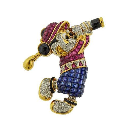 18K Gold Diamond Gemstone Mickey Mouse Brooch Pin