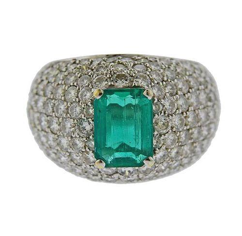 18K Gold Diamond 4.00ctw Emerald Ring