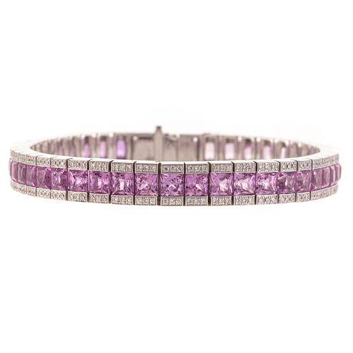 A Natural Pink Sapphire & Diamond Line Bracelet