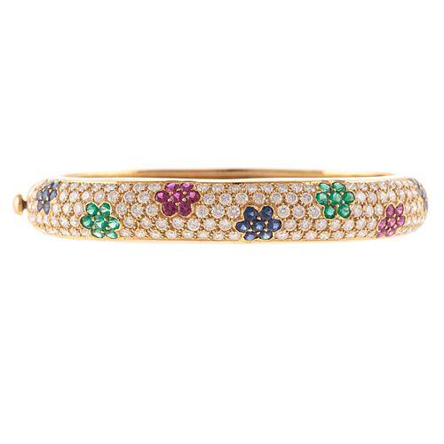 A Floral Multi Gemstone Bracelet in 18K