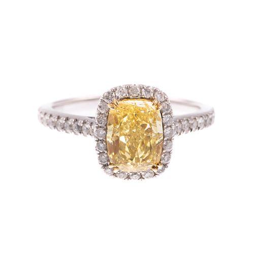 A 2.02ct Fancy Intense Yellow Diamond Ring