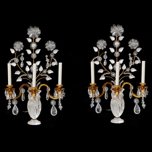Pair Gilded Bronze and Rock Crystal Sconces