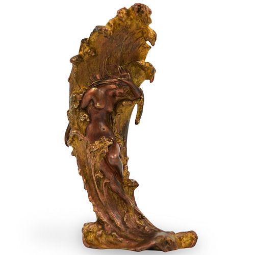 Carl Kauba (Austrian,1865-1922) Gilded Bronze Vase