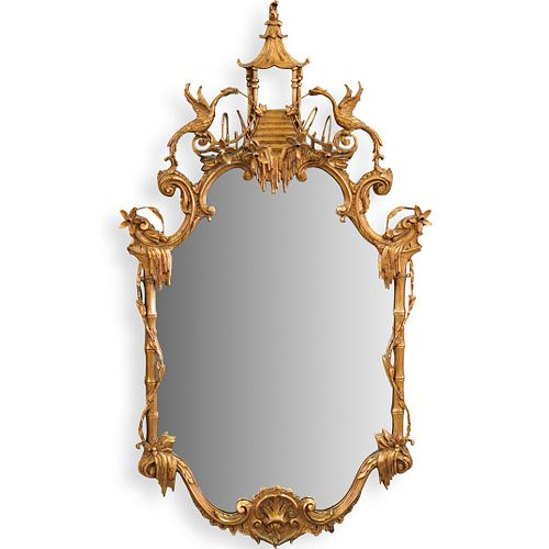 Carved Chinoiserie Gilt Wood Mirror