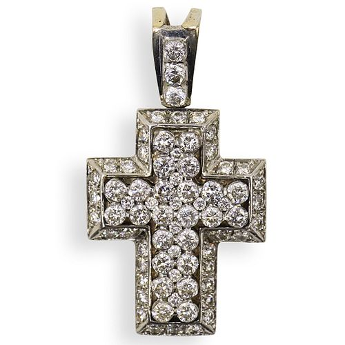 18k Gold and Diamond Cross Pendant