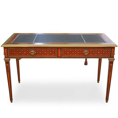 French Antique Marquetry Inlaid Desk