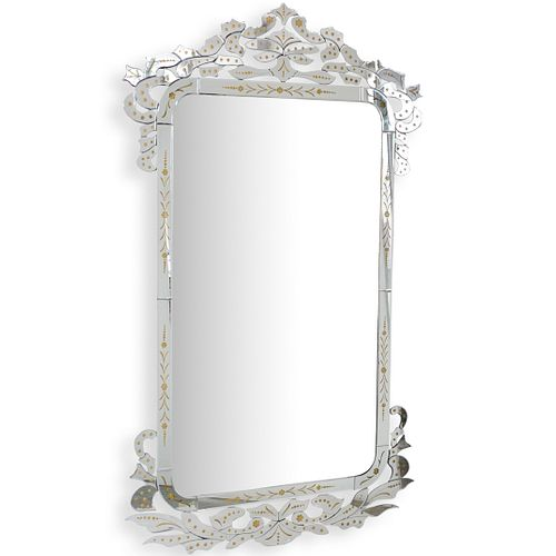 Venetian Style Etched Glass Wall Mirror
