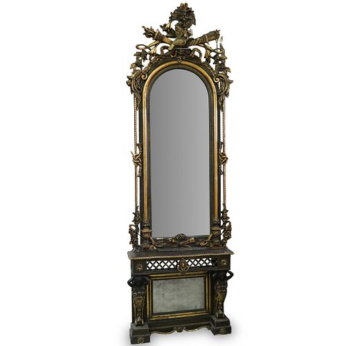 Monumental Two Tone Gilded Mirror