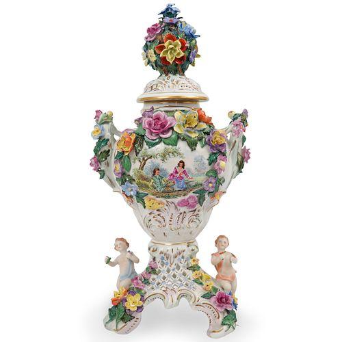 Dresden Porcelain Flower Urn