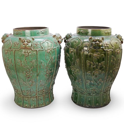 Pair of Chinese Ceramic Green Planters