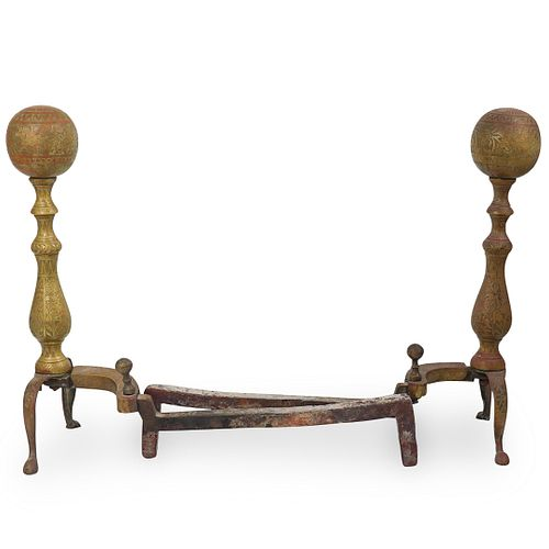 Pair of Oriental Brass Andirons