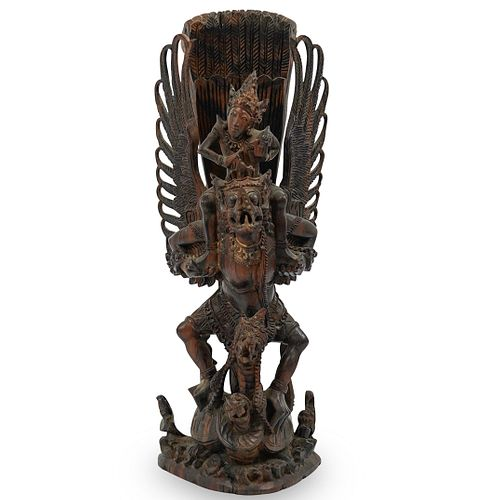 Balinese Carved Wood Garuda Sculpture