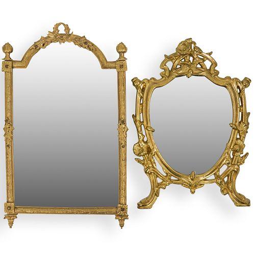 (2 Pc) Gilt Bronze Hanging Mirrors