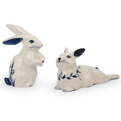(2 pc) Crackle Glazed Porcelain Rabbits