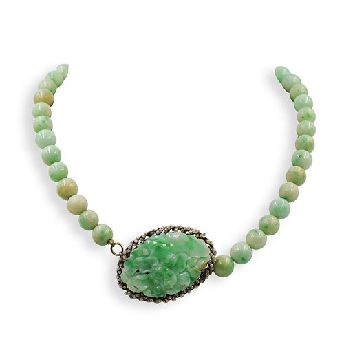 Chinese Jade and Sterling Beaded Necklace