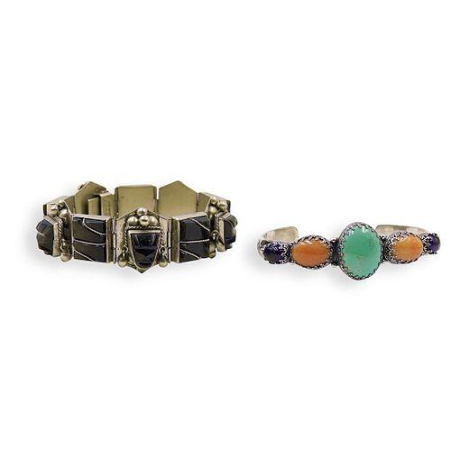 (2 Pc) Sterling Silver Gem Cuff & Mexican Bracelet