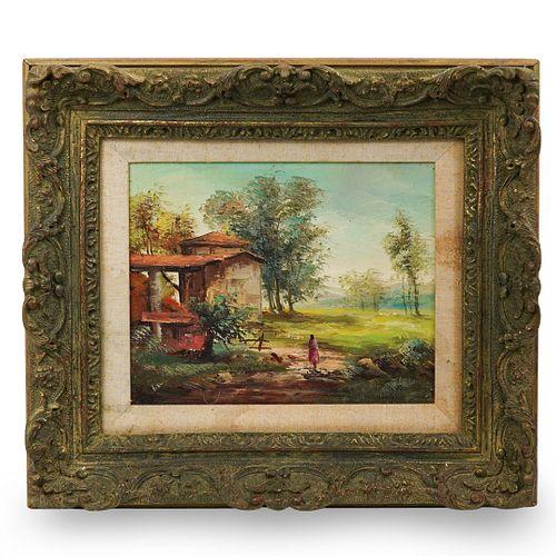 Oil On Board Impressionist Landscape (American)