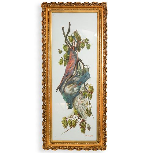 Bird Painting On Enameled Plaque