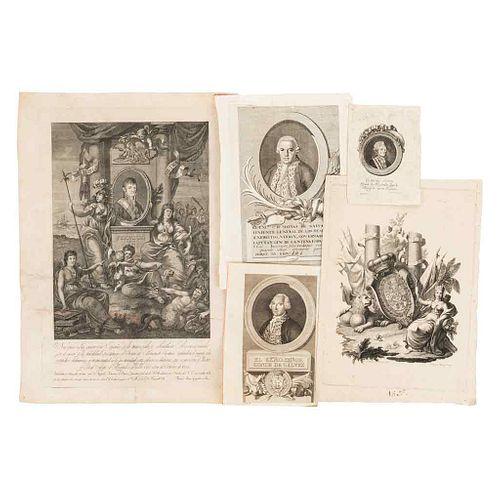 Allegory- Portraits of Ferdinand VII, Matías de Galvez , the Count of Galvez, and the Count of Revillagigedo. Engravings. Pieces: 5.