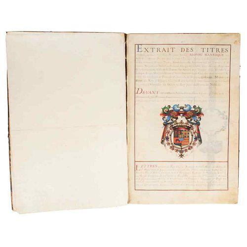 Duc de Noailles, Adrien Maurice & Madaillan Lesparre, Armand de. Extrait des Titres produits par haut & puiffant Seign... 1725.