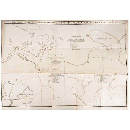 Vargas Ponce, José de. Relación del Último Viage al Estrecho de Magallanes y Apéndice. Madrid: 1788 y 1793. Portrait & 5 maps.