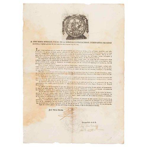 Morelos y Pavón, José María. Bando: Sobre la formación de un Tribunal de Protección y Confianza. Oaxaca December 19th, 1812.