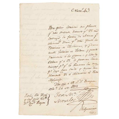 Morelos y Pavón, José María. Letter Addressed to Capitán Gral. Ygnacio Rayón. Pesoapan, Noviembre 26 de 1813.