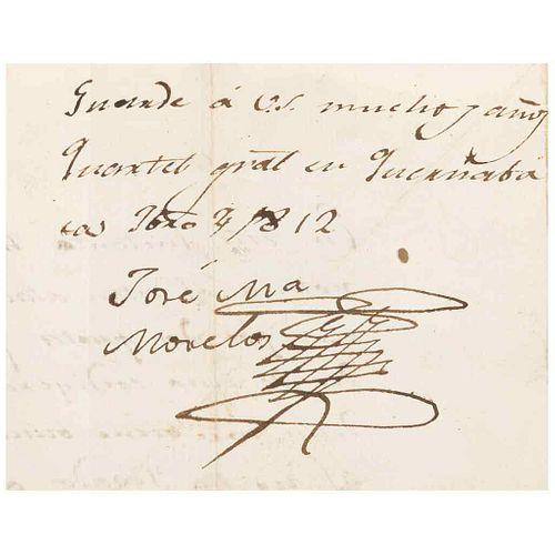Morelos y Pavón, José María. Letter Addressed to Coronel Francisco Allala. Quartel gral. en Quernabaca Febrero, 4 de1812.