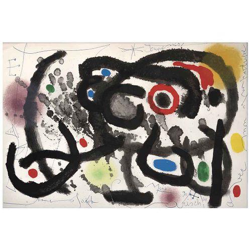 JOAN MIRÓ,De la carpeta Derrière le Miroir - Joan Miró:Céramique Murale Pour Harvard,1961, Signed and dated 64, Screenprint, 14.5 x 21.6 (37 x 55 cm)