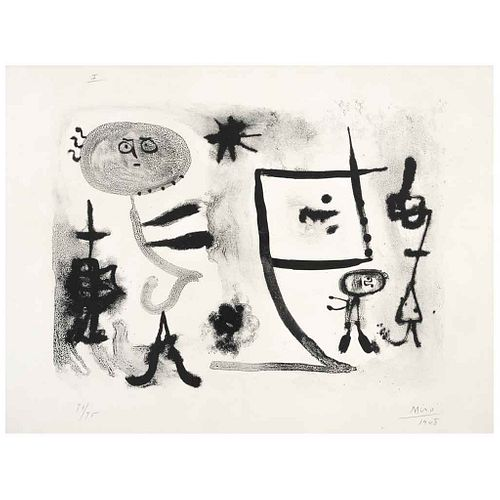 """JOAN MIRÓ, Plate I, from the binder Album 13, Signed and dated 1948, Screenprint 71 / 75, 10.9 x 14.7"""" (27.9 x 37.5 cm)"""