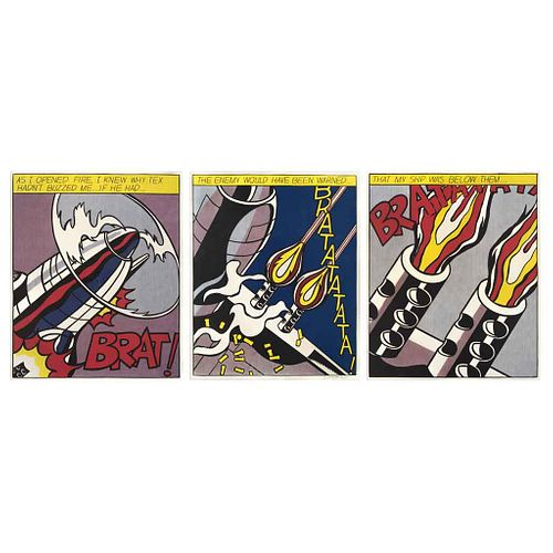 """ROY LICHTENSTEIN, As I opened fire, 1966, Signed, Offset Screenprints, Triptych, 24 x 19.6"""" (61 x 50 cm) each, Pieces: 3"""