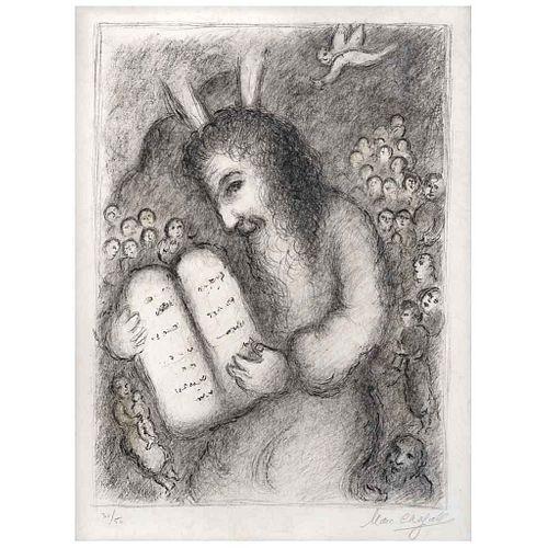 "MARC CHAGALL, Moses, 1979, Signed, Screenprint 30 / 50, 20.4 x 15.3"" (52 x 39 cm)"