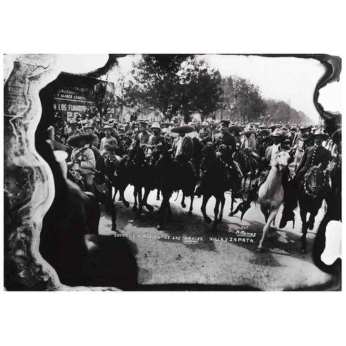 """MANUEL RAMOS, Entrada a México de los Generales Villa y Zapata, Signed from negative, Gelatin DOP 3/4, 15.7 x 22""""40 x 56cm, Certificate"""