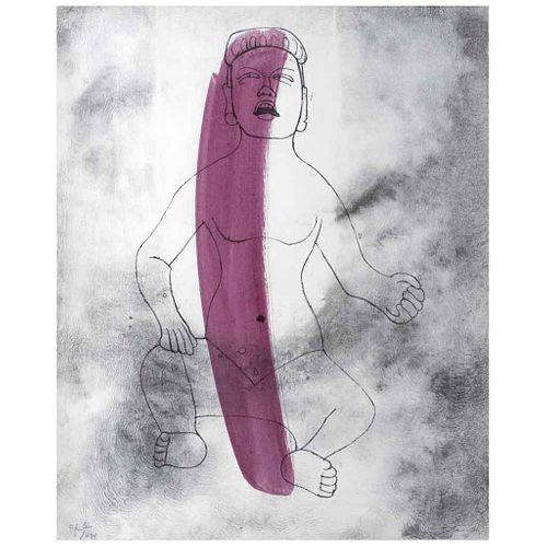 "RUFINO TAMAYO, Figura, Cultura Olmeca, 1976, Signed, Screenprint w/a touch of watercolor P de a X / XIII, 22 x 18"" (56 x 46 cm)"