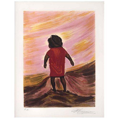 "DAVID ALFARO SIQUEIROS, Jesusito será un santo, from the binder Mountain Suite, 1969, Signed, Screenprint E. A., 20.8 x 15.3"" (53 x 39 cm)"