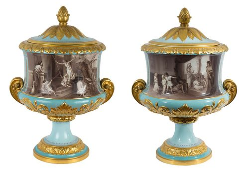 A PAIR OF RUSSIAN IMPERIAL CRATER VASES, IMPERIAL PORCELAIN FACTORY, ST. PETERSBURG, PERIOD OF ALEXANDER II (1855-1881), POSSIBLY BASED ON A DESIGN BY