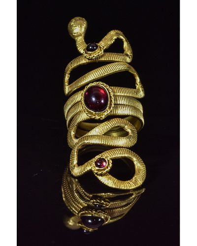 ROMANO-EGYPTIAN GOLD SNAKE RING WITH STONES