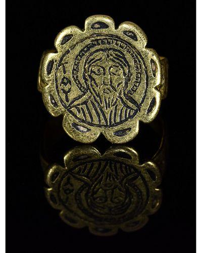 BYZANTINE GOLD AND NIELLO RELIGIOUS RING