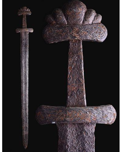 VIKING IRON SWORD WITH INLAID HANDLE