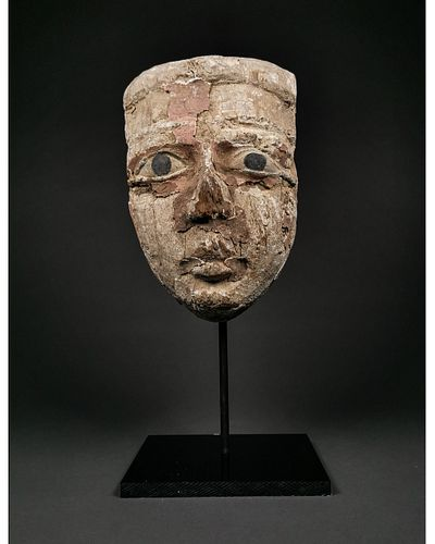 EGYPTIAN WOODEN MASK WITH BRONZE EYES