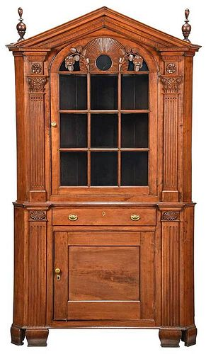 A Rare Maryland Chippendale Corner Cupboard