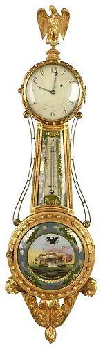 A Rare Lemuel Curtis Federal Girandole Clock