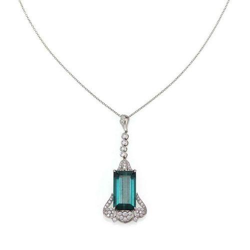 Tiffany & Co. 11.06ct Tourmaline & Diamond Platinu